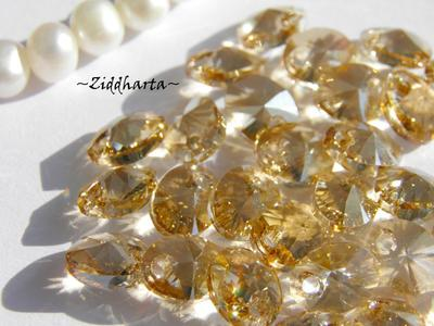 Swarovski 8mm Oval Droppe - Golden Shadow