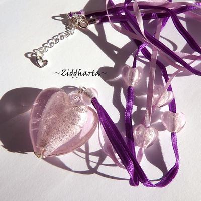 L2:58 Big PINK Silver Foil Lamp Work HEARTS silk ribbons Rosa Lila: Necklace Halsband Halskette