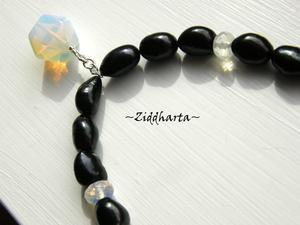 """L4:114 Opalite-serien - Black """"Unicorn"""" - OOAK Svarta Sötvattenspärlor BIG! Halsband med vackert hänge och facetterade rondeller H4"""
