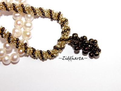 "L2:41 SÅLD! BronzeGolden Necklace Spiral Rope w beaded ""Grape"" Pendant - Handmade beaded Jewelry and Beading by Ziddharta"
