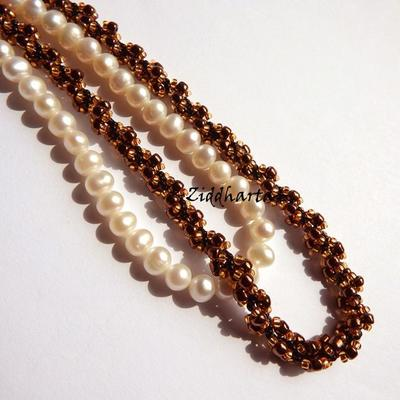 L4:132 - SteamPunk Bronze Copper - Miyuki & Jablonex Seed Beads Steam Punk Helix DNA-sträng Swirl Halsband Handsytt Beaded Necklaces Rope by Ziddharta