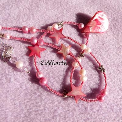 "L1:14 Necklace Grrrrl ""Pink Drop MOP Pendant""  Mother of Pearl pendant and Stars Freshwaterpearls Handmade Jewelry and Beadings by Ziddharta"