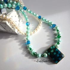 L5:154nn Rare - TEAL Kelly Green - Freshwaterpearls Enamel Pendant Swarovski Crystals - Dark Emerald Capri Blue Cubes Glass Beads