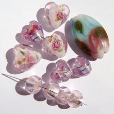 LampWork pärlor paket Nr #8: PINK Rosa Murano