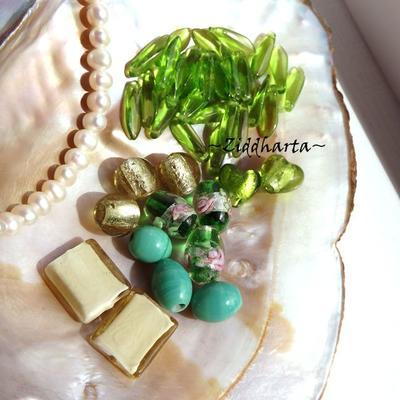 LampWork pärlor paket Nr #5: Olive Peridot Emerald Green
