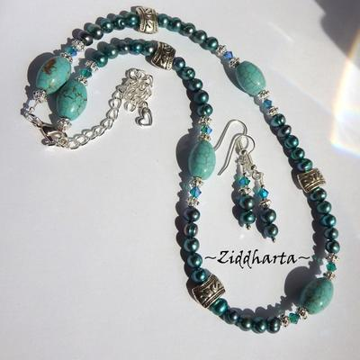 L4:128 - TEAL Turquoise SET - Teal Freshwaterpearls Swarovski Crystals Blue Zircon AB2x - Handmade Necklace & Earrings / Halsband & Örhängen - by Ziddharta