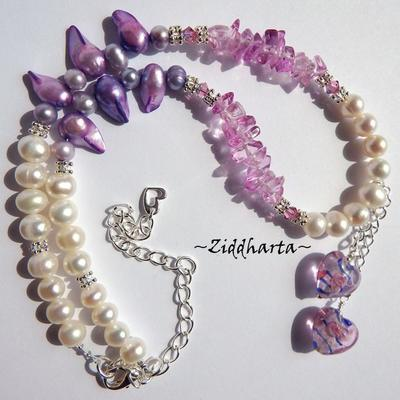 L3:79 OOAK Unique Blue Pink Twin Hearts Necklace White Freshwaterpearls PINK glass chips Necklace Swarovski Crystals Rose AB Necklace by Ziddharta