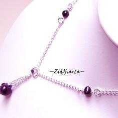 L2:76 Amethyst Gem Stone Y-Necklace Swarovski Freshwater Pearls Y halsband