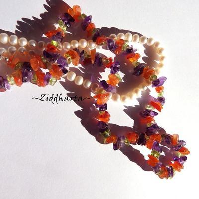 L2:77 GEM Carneol Amethyst Peridot SET: Necklace Earrings - Nice Green Lilac & Cognac color - Halvädelstens smycken SET halsband örhängen