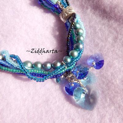L4:124 - Blue GreenTurkos FRENZY - FreshwaterPearls Swarovski Hearts OOAK - Wearable Art - Miyuki sewn beads - Statement Necklaces / Halsband - Handmade by Ziddharta of Sweden