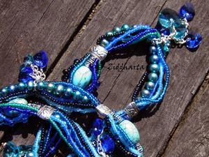L4:124 - Blue GreenTurkos FRENZY - FreshwaterPearls Swarovski Hearts OOAK - Wearable Art - Miyuki sewn beads - Statement Necklaces / Halsband - Handmade by Ziddharta of Sweden