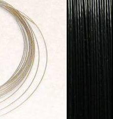 2,2m Wire 0,60mm: BLACK / Svart + 20 SP klämpärlor