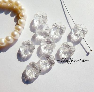 """20st FLOWER Transparanta 11mm Pärlor Dubbelsidig Vacker Pärla av """"Kristall"""" - genomskinlig Plast- pärla med genomgående hål"""