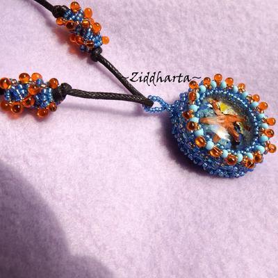 "L2:46 OOAK ""Sea Star"" Necklace 3D Glass Cabochon - beaded Miyuki Matsuno seedbeads fringe - Handmade beaded Jewelry and Beading by Ziddharta"