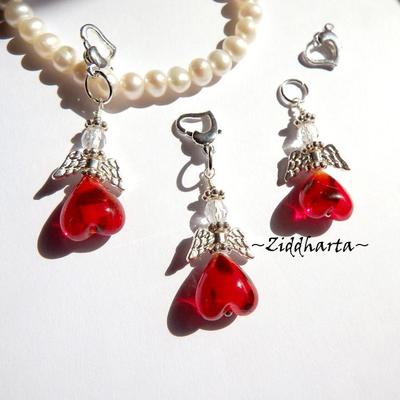1 Ängla-hänge: Love RED Röd SVART-prickig Ängel - Angels Handmade by Ziddharta