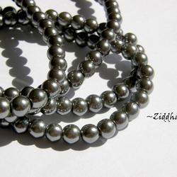 8mm Pearlecent Glaspärlor - 5st Hematite /Dk Silver