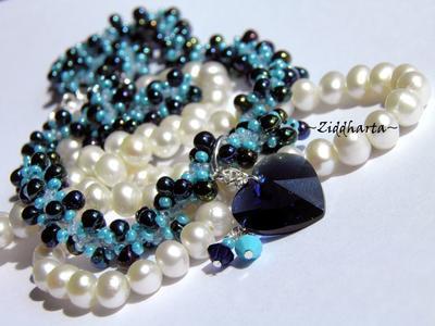 SÅLD: L4:121 - Dk Indigo & Turquoise - Beaded Rope Swarovski Crystals HEARTS: Necklace / Halsband