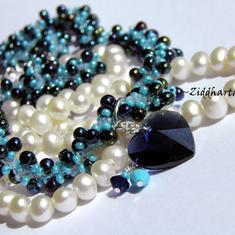 SÅLD: L4:121 - Dk Indigo & Turquoise - Beaded Rope Swarovski Crystals HEARTS: Necklace / Halsband