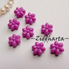 20st Lila FLOWER Opaka Pärlor Dubbelsidig Plast- pärla med genomgående hål