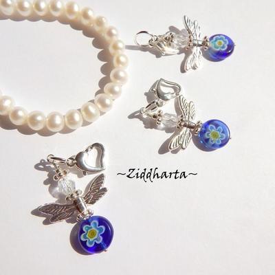 1-2-3st Ängla-hänge: Cobolt Millefiori pärla - Ängel - Handmade Angels by Ziddharta