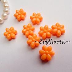 20st NEON Orange FLOWER Opaka Pärlor Dubbelsidig Plast- pärla med genomgående hål
