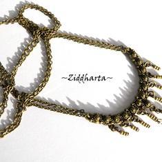 KIT:  L4:137nn Victorian SteamPunk BOW Fringes - vackert halsband i bronze med kedjor och Swarovski Crystals - MATERIAL-kit