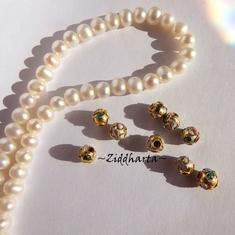 1 Cloisonné pärla: Golden Guld Gyllene guldiga 5mm Kula #47
