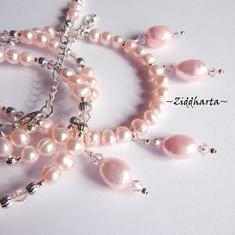 L2:61 OOAK Long Necklace Lots of Pink Freshwater Pearls, silverplated beads & Swarovski Crystals Light Rose