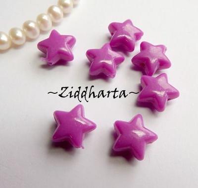 20st Lila STAR Opaka Pärlor Dubbelsidig Plast- pärla med genomgående hål