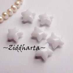 20st Vit STAR Opaka Pärlor Dubbelsidig Plast- pärla med genomgående hål