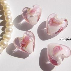 LampWork - 15mm Hjärta Rosa SF-stripes