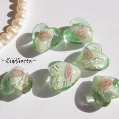 LampWork - 15mm Hjärta GreenAqua SF-stripes