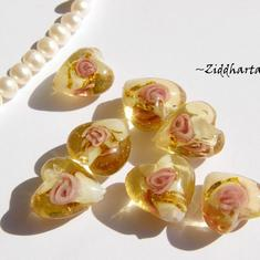 LampWork - 15mm Hjärta GOLDEN stripes