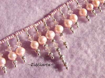 SÅLD! L2:66 OOAK Necklace PINK Fringes - Swarovski Crystal Freshwaterpearls - Handmade Jewelry and Beadings by Ziddharta for Bride Bridal Wedding