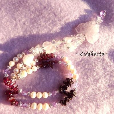 L1:16 OOAK Necklace RoseQuartz Butterfly Pendant Black Tourmaline Garnet gems White Freshwaterpearls - Handmade Jewelry and Beadings by Ziddharta