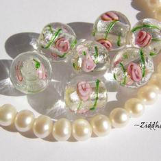 LampWork Runda 10-12mm - Crystal GreenStriped