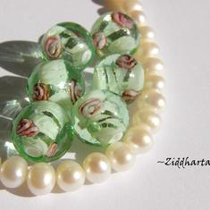 LampWork Runda 10-12mm - GreenAqua SF-stripes