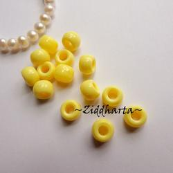 20st Gula Opaka PONY pärla 9x6mm - Drum Beads XL: PlastPärlor med stora hål