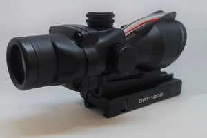 OPT-1009, 4x32 fiber optic natural light red dot ACOG style rifle scope
