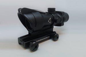 OPT-1009, 4x32 fiber optic natural light red dot ACOG style rifle scope