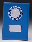 Blå glasplakett