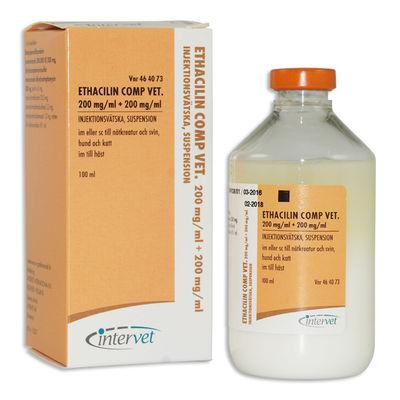 Ethacilin Comp. vet. 200 mg/ml+200 mg/ml 10 x 100 ML Injektionsvätska, suspension