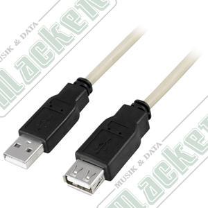 Deltaco USB Förlängningssladd,  0,1 meter
