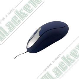 DELTACO, minimus utdragbar kabel optisk 2 knappar+scroll USB blå/silv