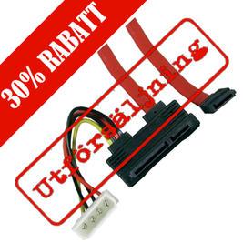 SATA-kabel, ström & hårddiskkabel, 0,5 meter, vinklad