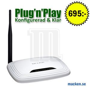 150Mbit trådlös router, Okonfigurerad eller konfigurerad & klar