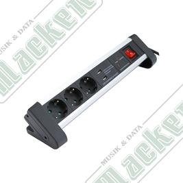 Grenuttag 3-Vägs Jordad 1,2m Metall USB Överspänningsskydd