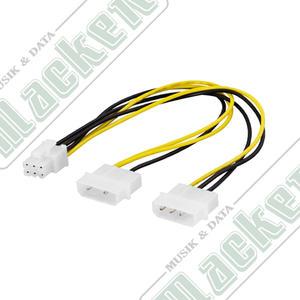adapterkabel 2x4-pin till 6-pin PCI-Express, 25cm