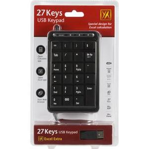 DELTACO Numeriskt tangentbord USB 27-knappar, med inbyggd USB-hubb