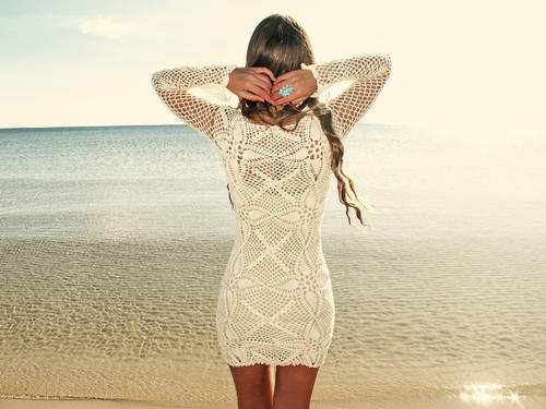 Handmade crochet long sleeve dress BEIGE